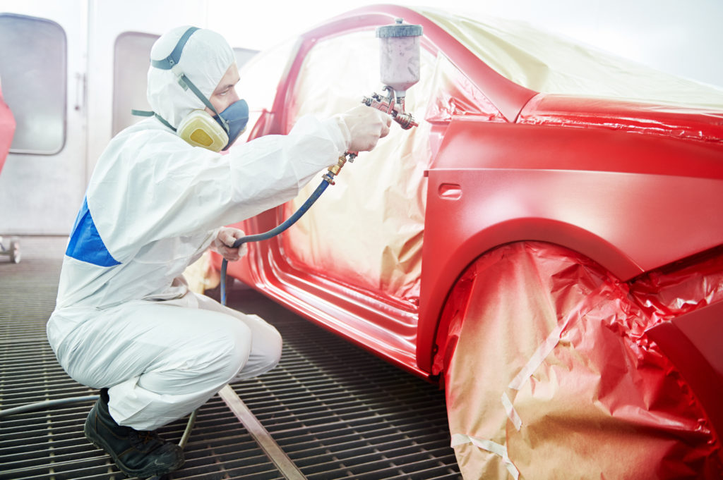 Painting a car red
